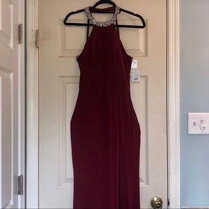 Burgundy embellished gown